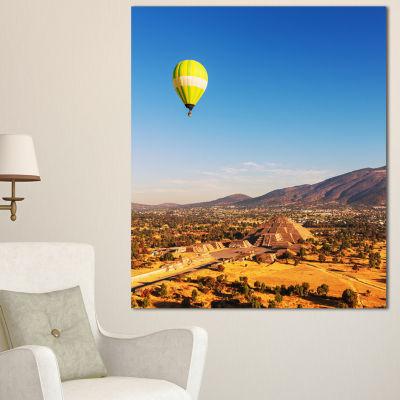 Designart Large Yellow Balloon Over Mountains Oversized Landscape Canvas Art - 3 Panels