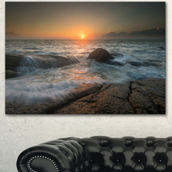 Designart Lashing Sea Waves At Sunset Beach PhotoCanvas Print