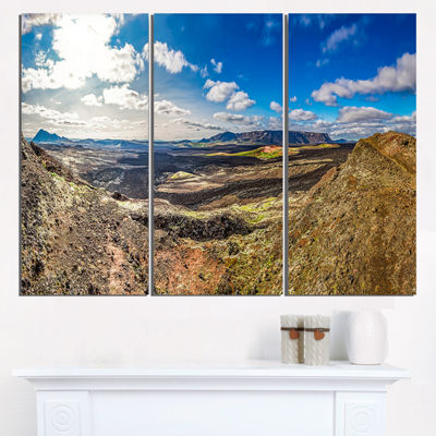 Designart Lava Destroyed Stretch Of Iceland Landscape Print Wall Artwork
