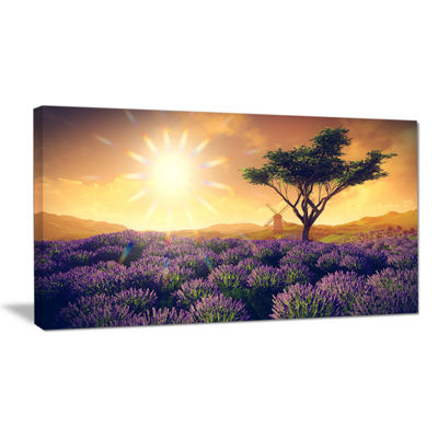 Designart Lavender Field With Solitary Tree ExtraLarge Landscape Canvas Art