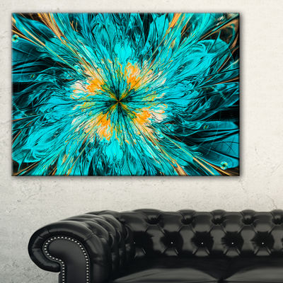 Designart Layered Blue Fractal Flower Petals Floral Canvas Art Print