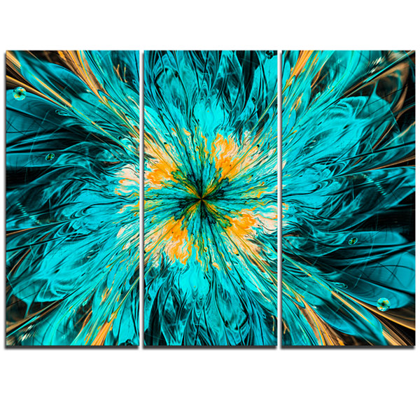 Design Art Layered Blue Fractal Flower Petals Floral Triptych Canvas Art Print