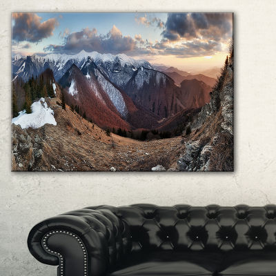 Designart Layers Of Foggy Hills Panorama LandscapeArtwork Canvas