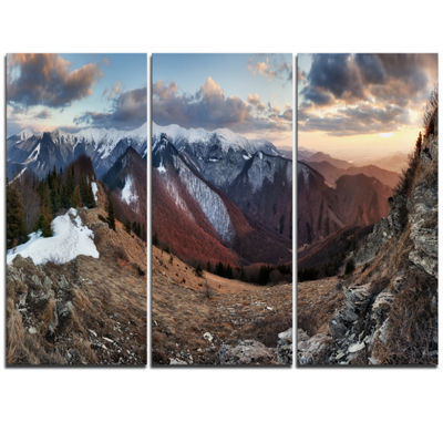 Designart Layers Of Foggy Hills Panorama LandscapeArtwork Triptych Canvas