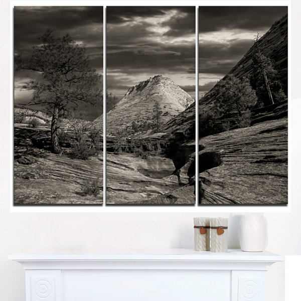 Designart Layers Of Red Rock Black And White Landscape Triptych Canvas Art Print