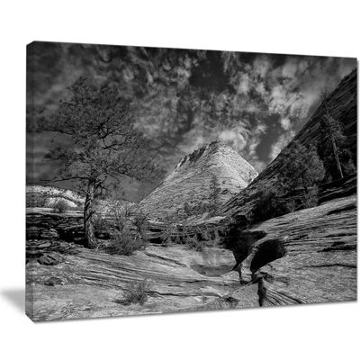 Designart Layers Of Red Rock Gray With Clouds Landscape Canvas Art Print