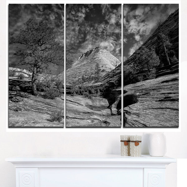Designart Layers Of Red Rock Gray With Clouds Landscape Triptych Canvas Art Print