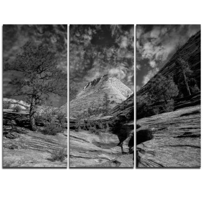 Design Art Layers Of Red Rock Gray With Clouds Landscape Triptych Canvas Art Print