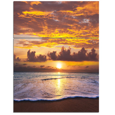 Designart Layers Of Yellow Clouds At Sunset Seascape Triptych Canvas Art Print