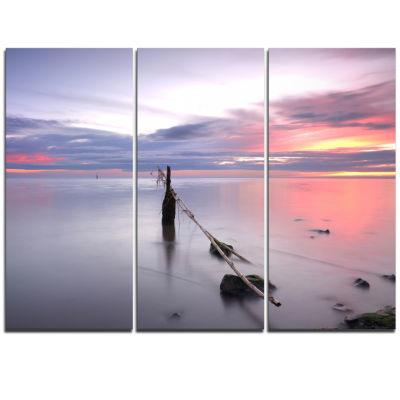 Design Art Lazy River At River Tejo Sacavem Seashore Triptych Canvas Art Print