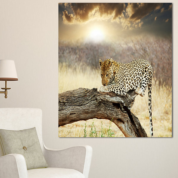 Designart Leopard Relaxing On Tree African CanvasArt Print - 3 Panels