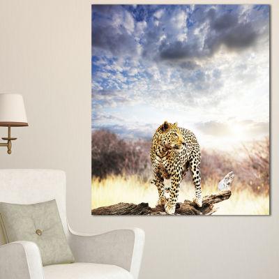 Design Art Leopard Walking Under Cloudy Sky AfricanCanvas Art Print