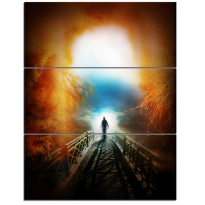 Designart Life After Death Large Tunnel Modern Landscape Wall Art Triptych Canvas