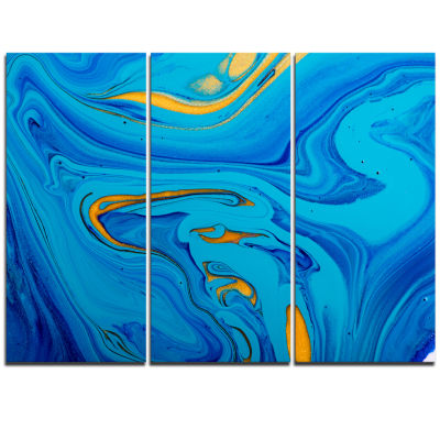 Designart Light Blue Abstract Acrylic Paint Mix Abstract Art On Triptych Canvas