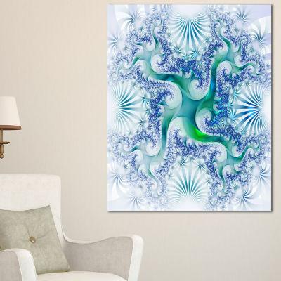 Designart Light Blue And Green Fractal Design Large Abstract Canvas Artwork