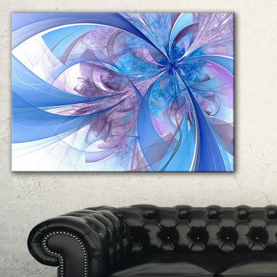 Designart Light Blue And Purple Fractal Flower Floral Canvas Art Print