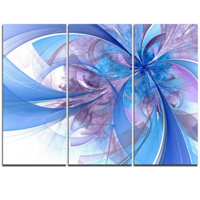 Designart Light Blue And Purple Fractal Flower Floral Triptych Canvas Art Print
