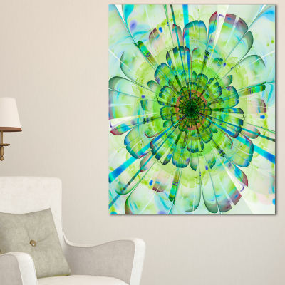 Designart Light Blue Digital Flower Petals CloseUpFloral Canvas Art Print