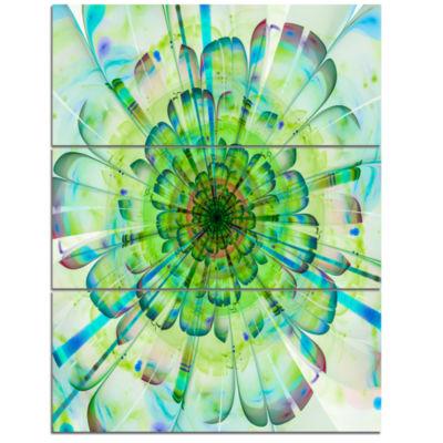 Designart Light Blue Digital Flower Petals CloseUpFloral Triptych Canvas Art Print