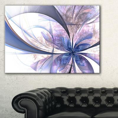 Designart Light Blue Fractal Flower Design FloralCanvas Art Print