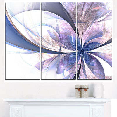 Designart Light Blue Fractal Flower Design FloralTriptych Canvas Art Print