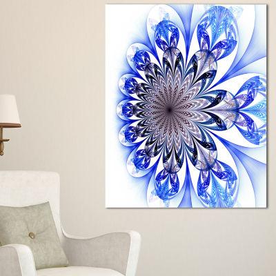 Design Art Light Blue Fractal Flower Digital Art Floral Canvas Art Print
