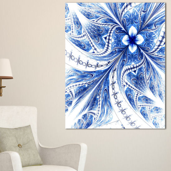 Designart Light Blue Fractal Flower Pattern Digital Floral Canvas Art Print