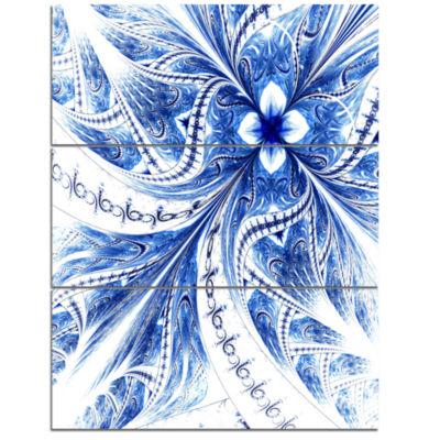Designart Light Blue Fractal Flower Pattern Digital Floral Triptych Canvas Art Print