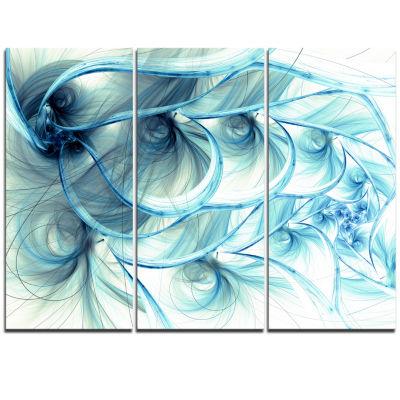 Designart Light Blue Fractal Flower Soft PatternFloral Triptych Canvas Art Print
