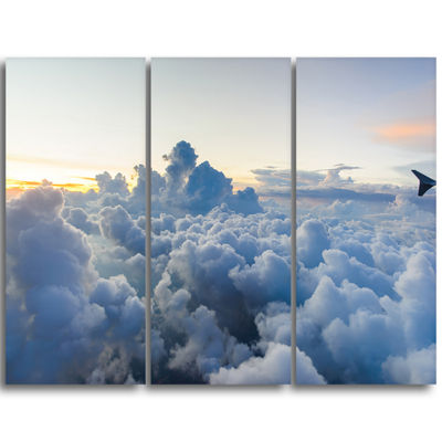 Designart Light Blue Heavy Clouds In Sky Contemporary Landscape Triptych Canvas Art