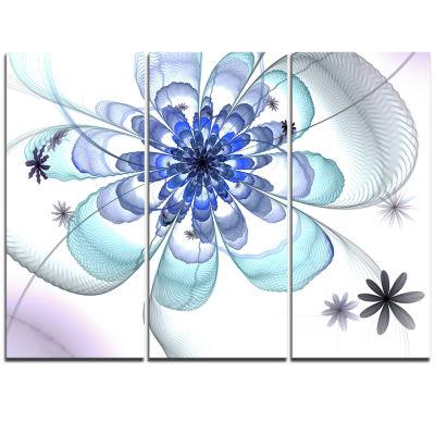 Designart Light Blue Large Fractal Flower FloralTriptych Canvas Art Print