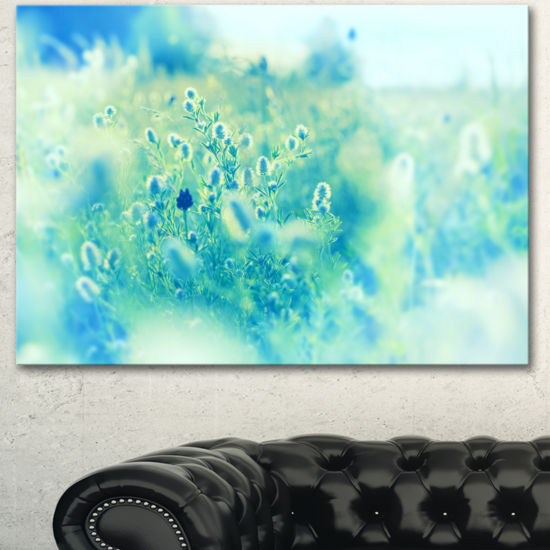 Designart Light Blue Mountain Plain Flowers FloralCanvas Art Print