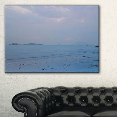 Designart Light Blue Sunset At Lung Kwu Tan BeachLandscape Artwork Canvas