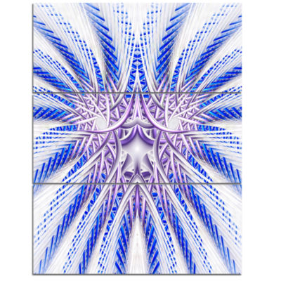 Designart Light Blue Unique Fractal Flower DesignLarge Abstract Triptych Canvas Artwork