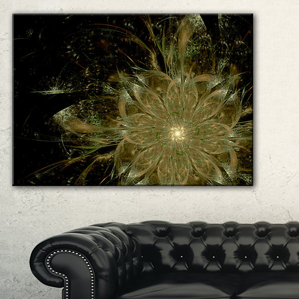 Designart Light Brown Symmetrical Fractal FlowerFloral Canvas Art Print