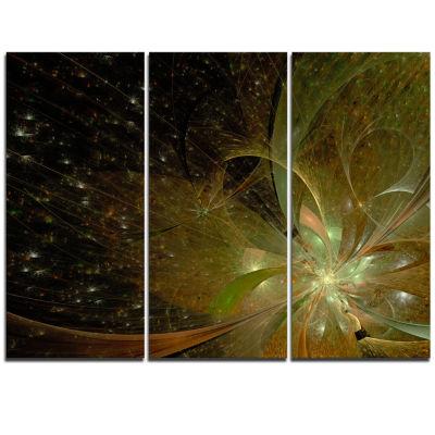 Designart Light Golden Symmetrical Fractal FlowerFloral Triptych Canvas Art Print