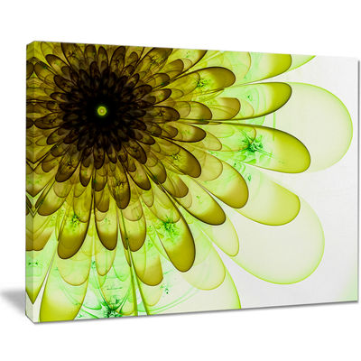 Designart Light Green Digital Flower Petal CloseUpFloral Canvas Art Print