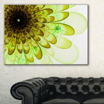 Designart Light Green Digital Flower Petal CloseUpFloral Canvas Art Print