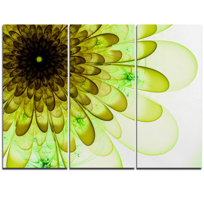 Designart Light Green Digital Flower Petal CloseUpFloral Triptych Canvas Art Print