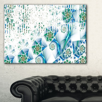 Designart Light Green Fractal Abstract Flower Oversized Abstract Canvas Art