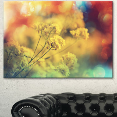 Designart Light Little Yellow Flowers BackgroundLarge Flower Canvas Art Print - 3 Panels