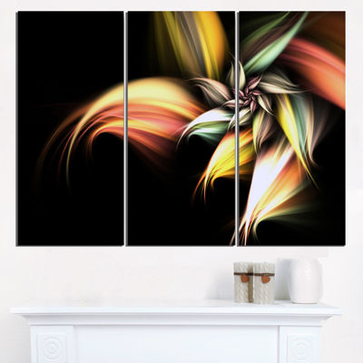 Designart Light Orange Pink Glossy Flower Large Floral Wall Art Triptych Canvas