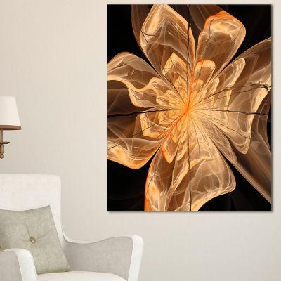 Designart Light Orange Symmetrical Fractal FlowerFloral Canvas Art Print