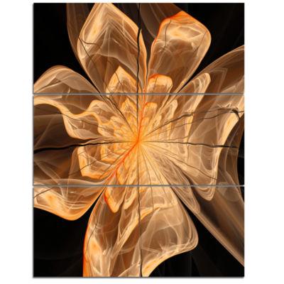 Design Art Light Orange Symmetrical Fractal FlowerFloral Triptych Canvas Art Print