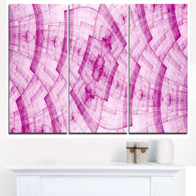 Designart Light Pink Psychedelic Fractal Metal Grid Abstract Art On Triptych Canvas