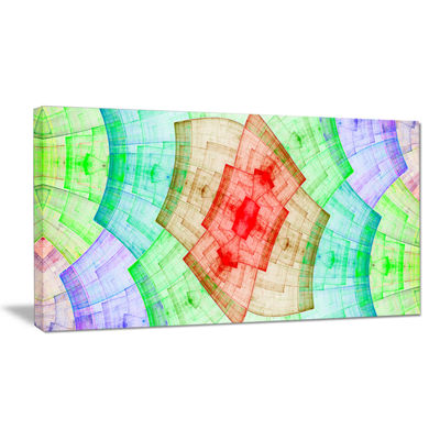 Designart Light Red And Green Flower Grid AbstractArt On Canvas