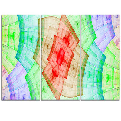 Designart Light Red And Green Flower Grid AbstractArt On Triptych Canvas