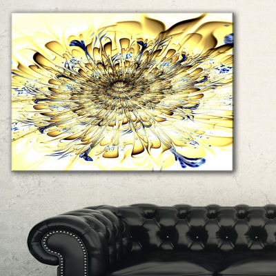 Designart Light Yellow Digital Art Fractal FlowerFloral Canvas Art Print