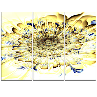 Designart Light Yellow Digital Art Fractal FlowerFloral Triptych Canvas Art Print