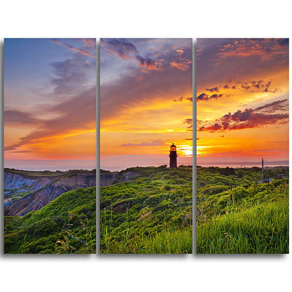 Designart Lighthouse At Gorgeous Sunset Extra Large Wall Art Landscape